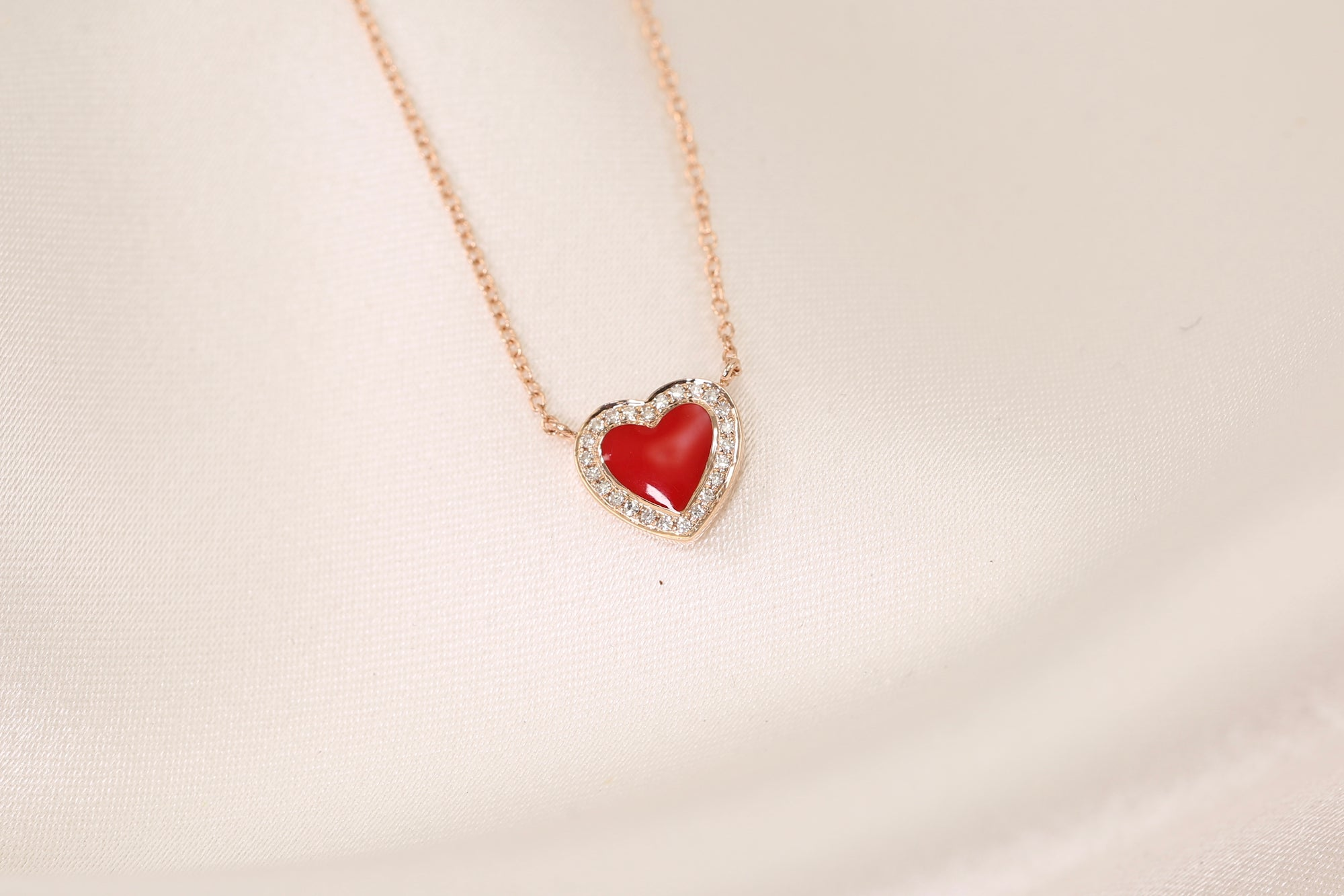 Red Enamel Heart Diamond Halo Necklace