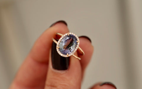 Tanzanite Diamond Halo Double Band Ring