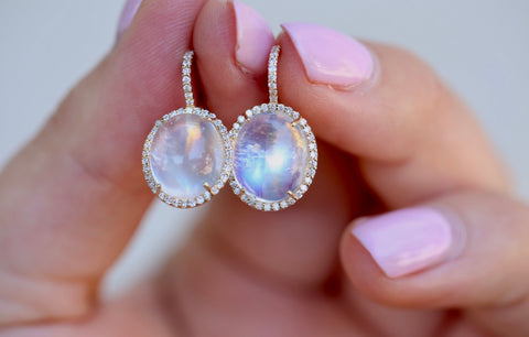 Oval Moonstone Diamond Halo Drop Earrings