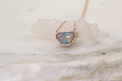 Australian Opal Slice Diamond Halo Necklace