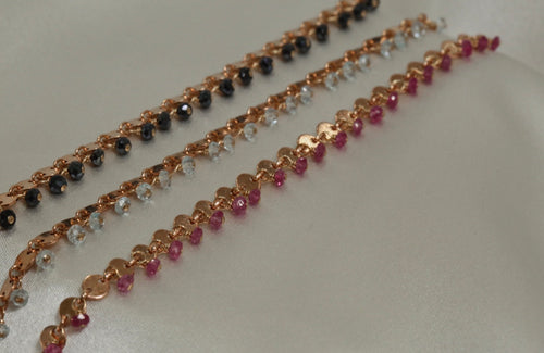Small Disc Chain with Stone Drops Bracelet