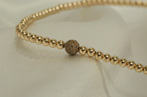 Champagne Diamond Bead Choker Necklace