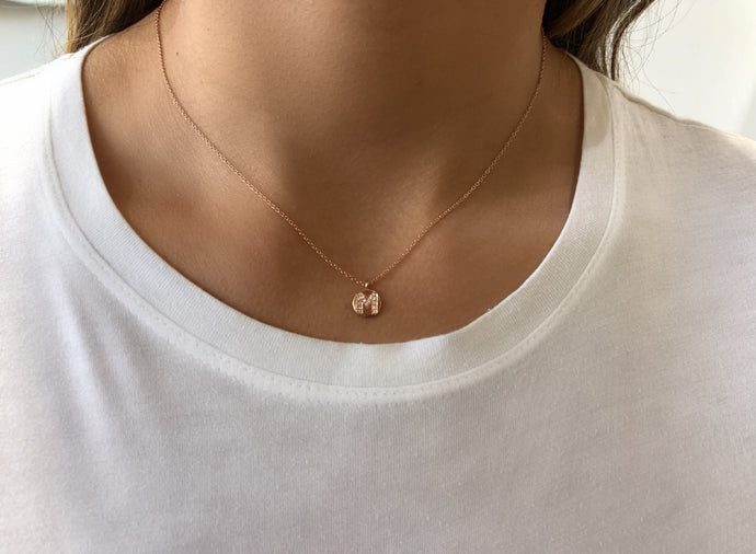Small Initial Disc Diamond Necklace