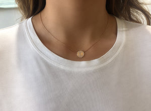 Initial All Around Disc Diamond Necklace