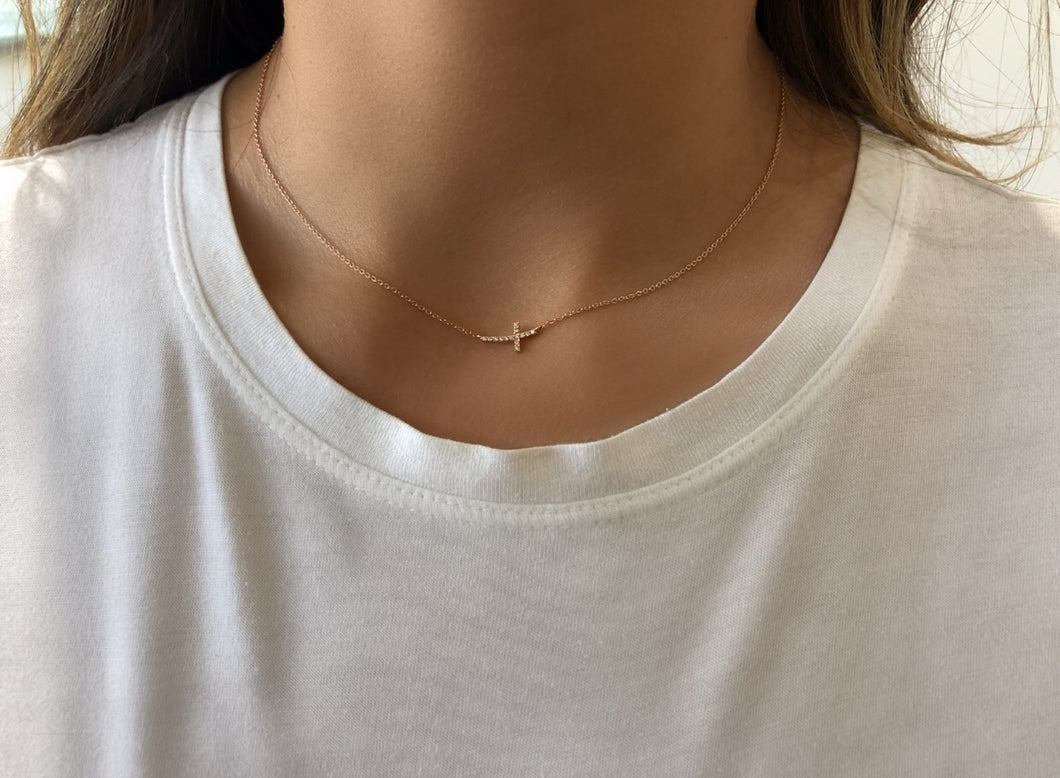 Side Cross Diamond Necklace