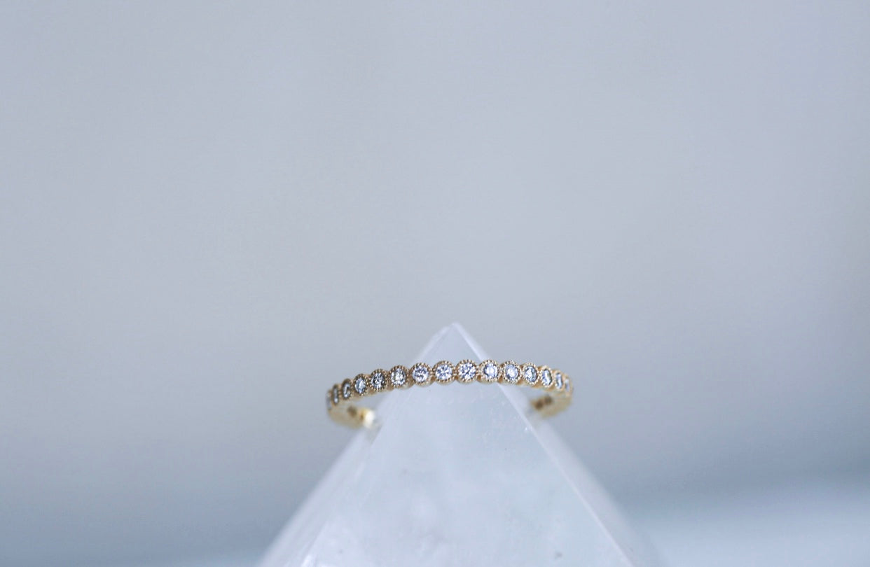 Milgrin Bezel Diamond Half Eternity Band