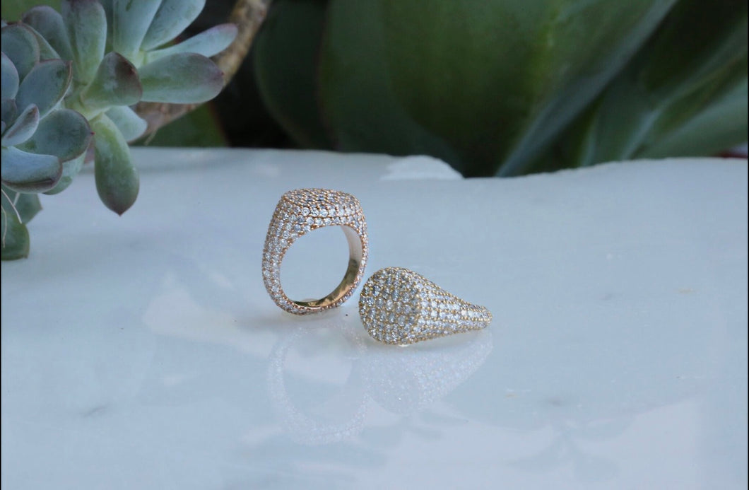 Signet Diamond Pave Ring