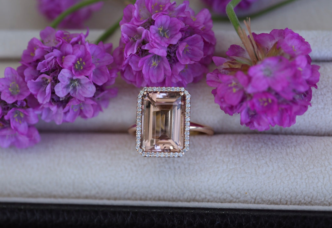 Morganite Emerald Cut Diamond Halo Ring