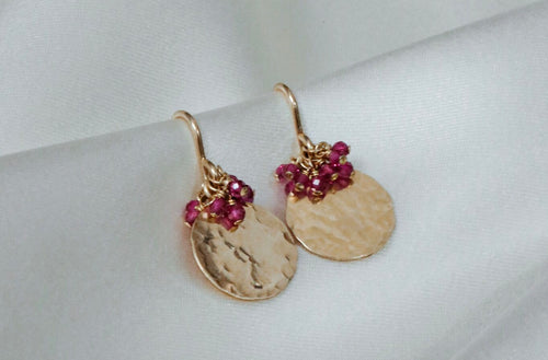 Disc Drop Pink Sapphire Cluster Earrings