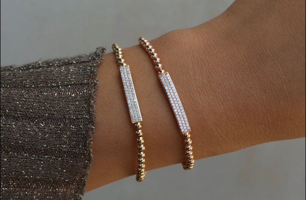 Triple Row Diamond Pave Bar Bracelet