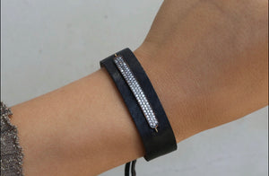 Pave Bar Leather Bracelet
