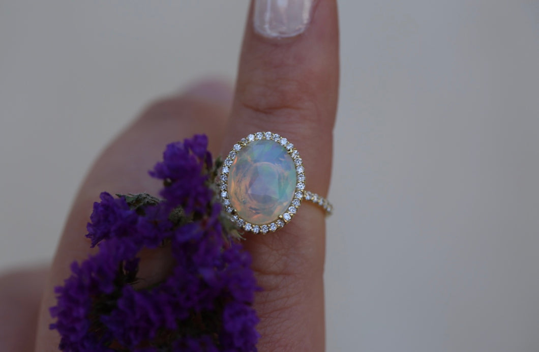 Ethiopian Opal with Diamond Halo Ring