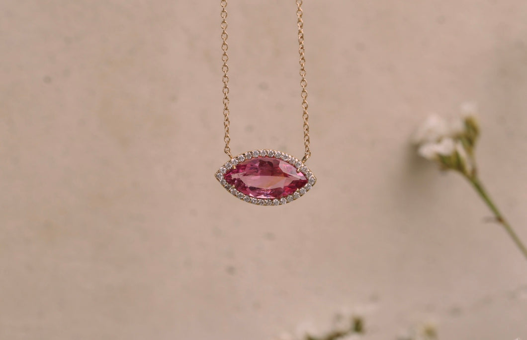Rubellite Pink Tourmaline with Diamond Halo Necklace