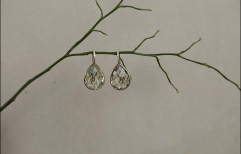 Prasiolite & Diamond Drop Earrings
