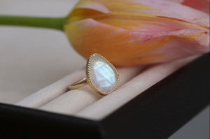 Rainbow Moonstone Slice Ring