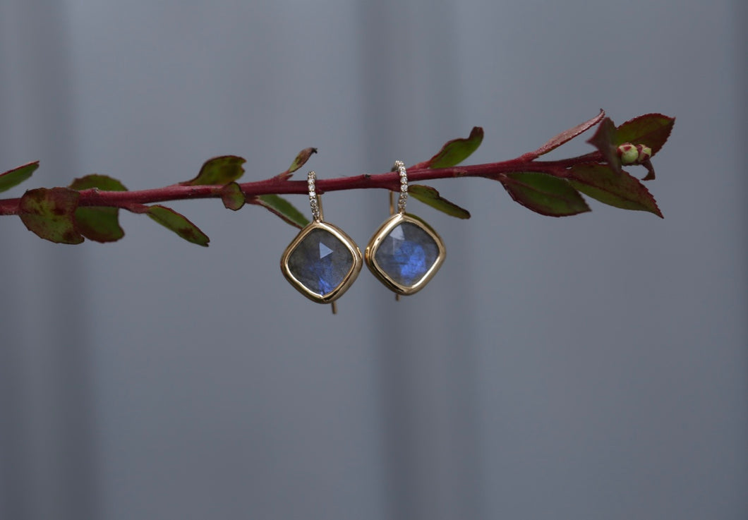 Labradorite Bezel Drop Earrings