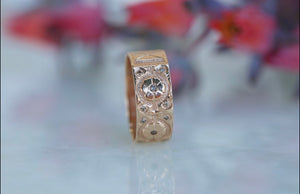 Champagne Diamond Flower Band Ring