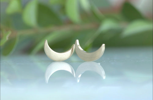 Large Crescent Moon Stud Earrings
