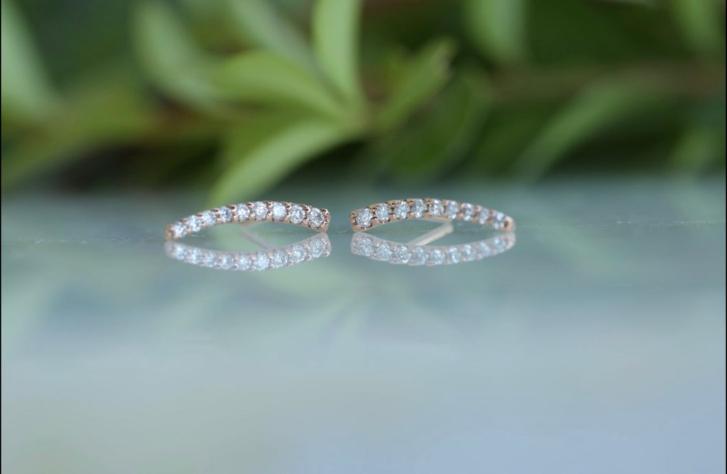 Curve Bar Diamond Stud Earrings