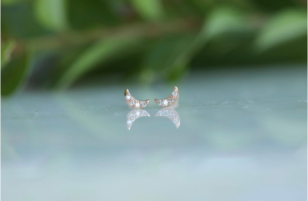 Tiny Moon Diamond Stud Earrings