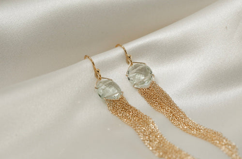 Prasiolite Drop Chain Tassel Earrings