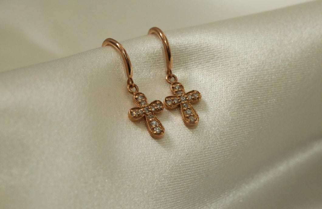 Cross Drop Diamond Earrings