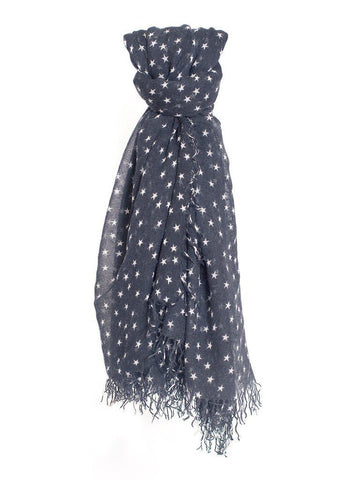Navy Star Print Cashmere and Silk Scarf