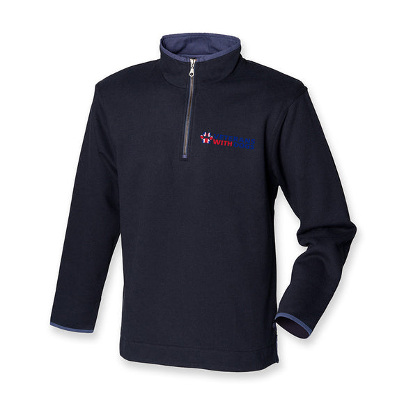 Premium Quarter Zip Navy Jumper - Veterans With Dogs (VWD) Shop
