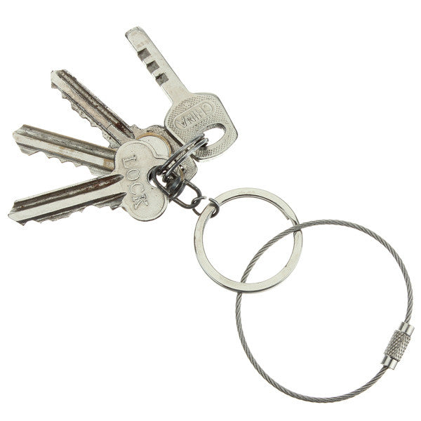 Stainless Steel Wire keychain Cable Key Ring Twist Barrel - GhillieSuitShop