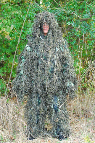 Ghillie Suit Woodland Synthetic Breathable Leafy 3D For Adults