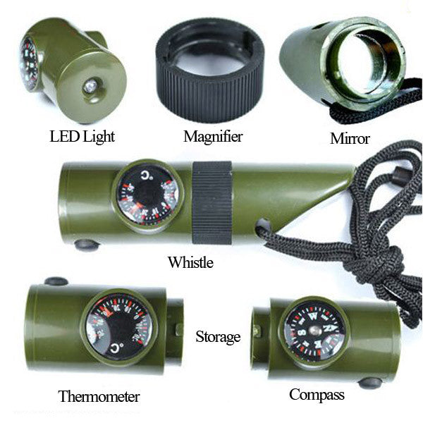 Outdoor Survival 7 in 1 multi-function Compass Whistle - GhillieSuitShop