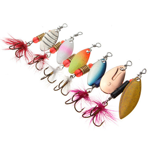 30x Metal Assorted Laser Fishing Lure Spinner Baits Feather Hook Set - GhillieSuitShop