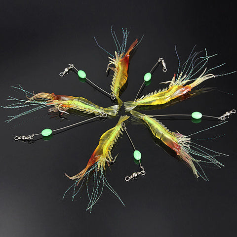 Silicone Fishing Simulation Noctilucent Soft Shrimp Lure Hook Bait - GhillieSuitShop