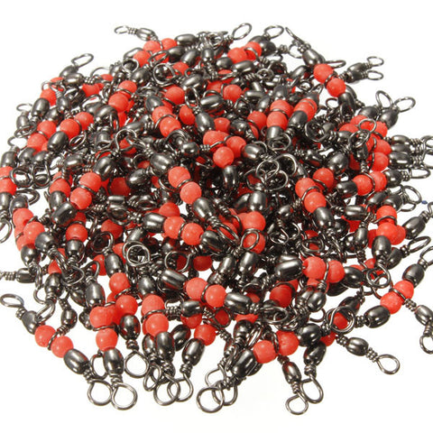100 Pcs CrossLine (3 Way) Red Fishing BARREL Swivel Bearing Connector - GhillieSuitShop
