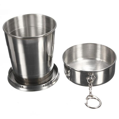 240ml 4oz Stainless Steel Portable Folding Telescopic Travel Cup - GhillieSuitShop
