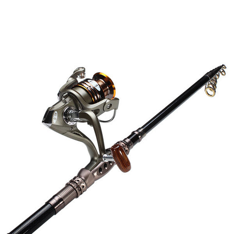 2.4M Carbon Sea Telescopic Fishing Rod Spinning Reel 100M Fishing Line - Carbon Fiber and Alloy - GhillieSuitShop