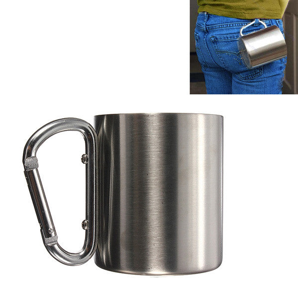 220ml Portable Stainless Steel Mug Camping Cup Carabiner Double Wall - GhillieSuitShop