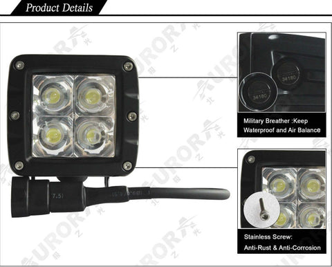 "2"" LED Flood Work Light, 3200 Lumens - GhillieSuitShop"