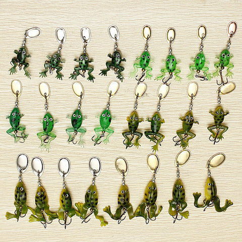 24pcs Sequins Frog fish Lure Topwater Soft Bait Crankbait Tackle Hook - GhillieSuitShop