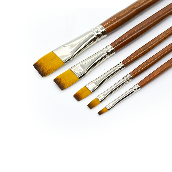Flat Brush Set - 5 Pack (Long Handle), Paint Brushes- Lumin's Workshop