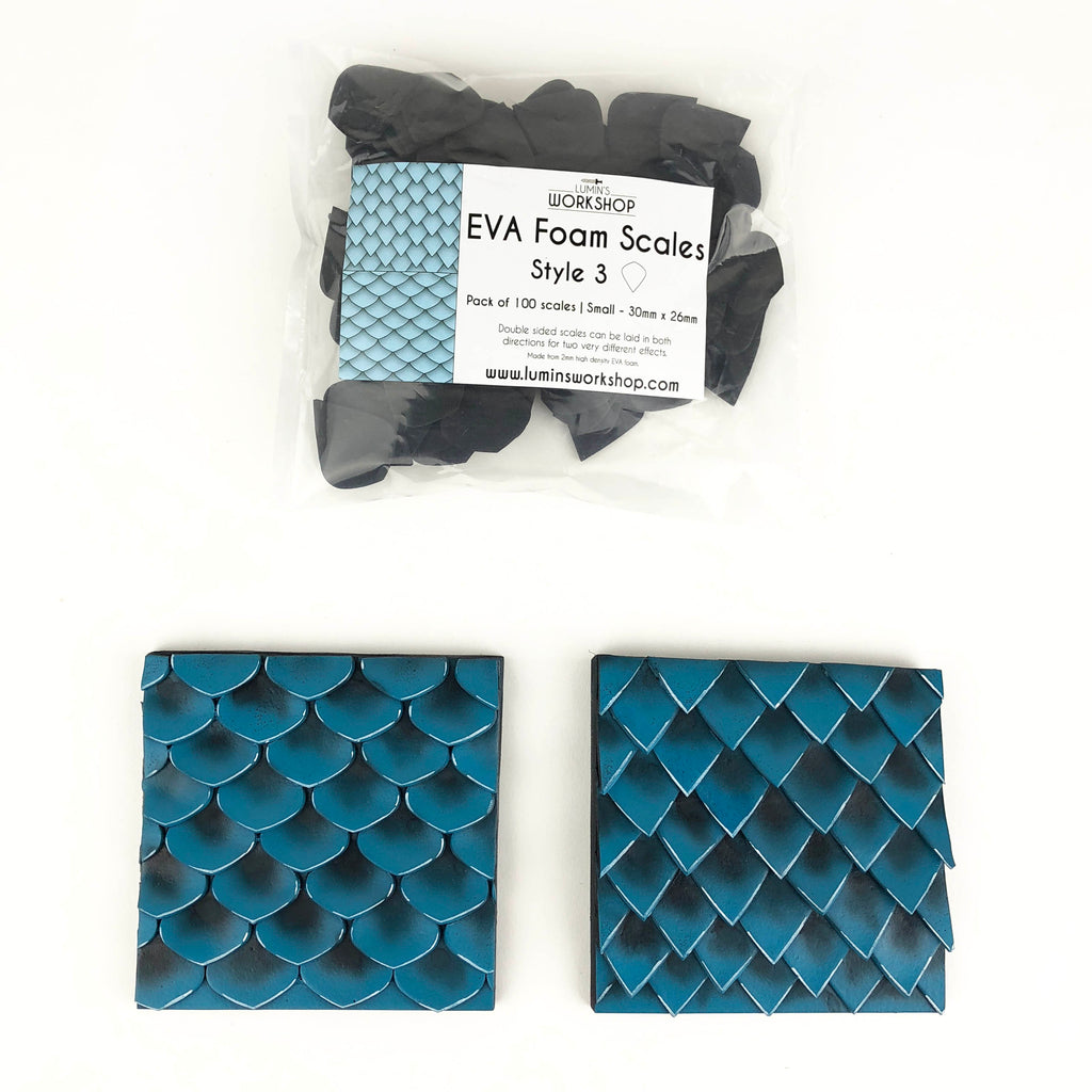 EVA Foam Scales - Style 3 - 100pk - (Available in 2 sizes), Eva foam scales- Lumin's Workshop