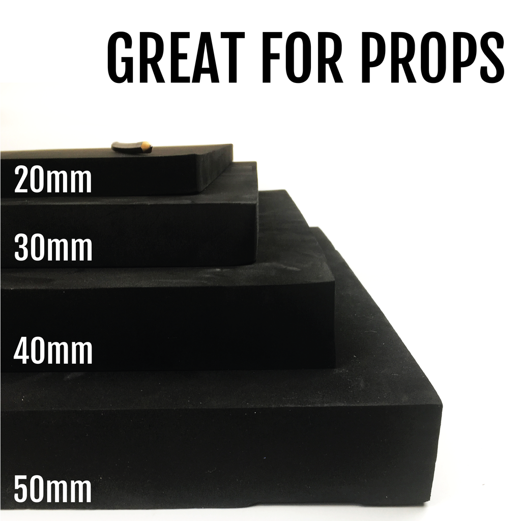 Black EVA Foam Block - 20mm to 50mm (50cm x 100cm), Foam- Lumin's Workshop