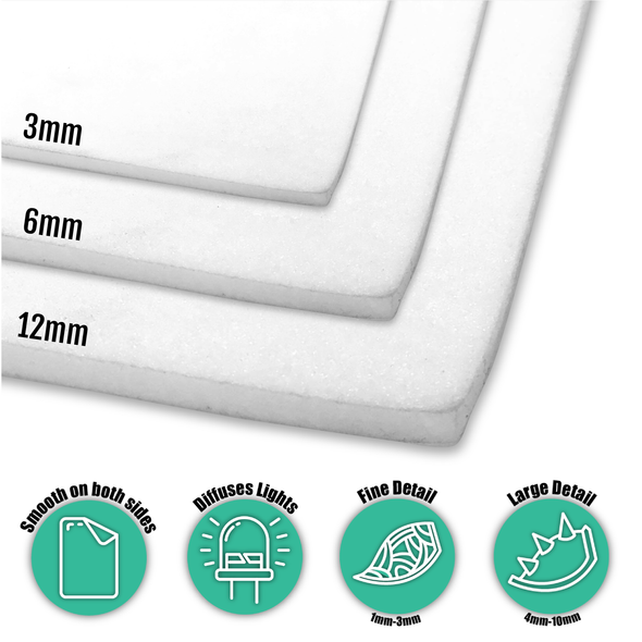 White Translucent Plastazote LD45 Foam (50x100cm) - Perfect for diffusing light, Foam- Lumin's Workshop