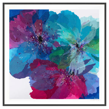 Blue Poppies - large limited edition print - framed