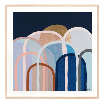 Hills in Navy & Tan Medium framed limited edition print