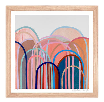 Little Hills in Candy - extra small limited edition print - framed
