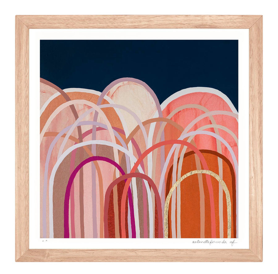 Little Hills in Coral - extra small limited edition print - framed