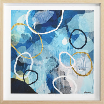 Rockpools with Navy and Gold mini framed limited edition print