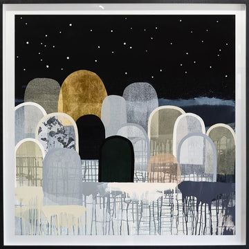 Starlight Hills - limited edition print - framed in blonde oak with black painted front