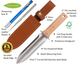 Hori Hori Garden Tool with Leather Sheath and Sharpening Rod